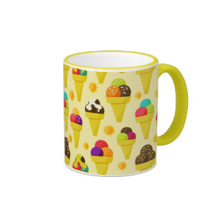 Colorful Cartoon Ice Cream Cones Ringer Coffee Mug