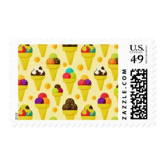 Colorful Cartoon Ice Cream Cones Postage Stamp