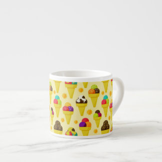 Colorful Cartoon Ice Cream Cones 6 Oz Ceramic Espresso Cup