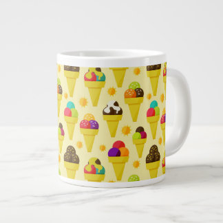 Colorful Cartoon Ice Cream Cones 20 Oz Large Ceramic Coffee Mug