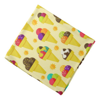Colorful Cartoon Ice Cream Cones Bandana
