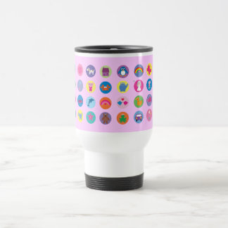 Colorful Cartoon Icons Cute Stuff Pink Custom Coffee Mugs