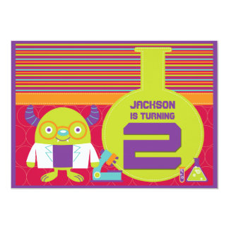 Colorful Cartoon Mad Scientist 2nd Birthday Party 5x7 Paper Invitation Card