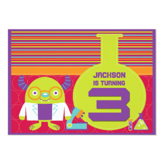 Colorful Cartoon Mad Scientist 3rd Birthday Party 5x7 Paper Invitation Card