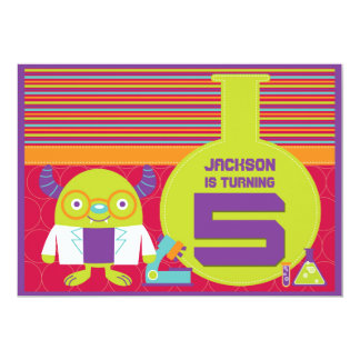 Colorful Cartoon Mad Scientist 5th Birthday Party 5x7 Paper Invitation Card