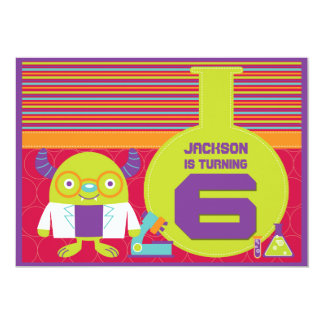 Colorful Cartoon Mad Scientist 6th Birthday Party 5x7 Paper Invitation Card