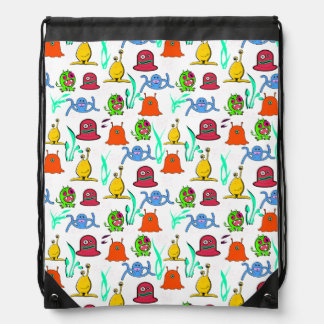 Colorful Cartoon Monsters Drawstring Backpack