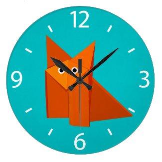 Colorful Cartoon Origami Fox Cute Wallclock