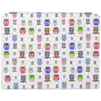 Colorful Cartoon Owls iPad Cover