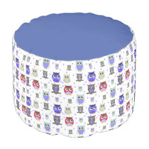 Colorful Cartoon Owls Pouf Seat