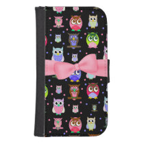 Colorful Cartoon Owls Samsung S4 Wallet Case