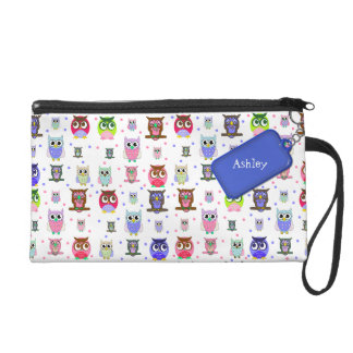 Colorful Cartoon Owls Wristlet Bag
