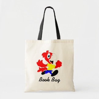 Colorful cartoon parrots in yellow red and blue tote bag