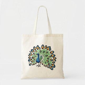 Colorful Cartoon Peacock Tote Bag