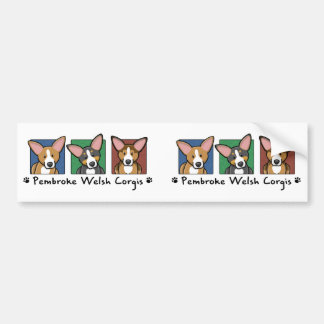Colorful Cartoon Pembroke Welsh Corgis Bumper Sticker