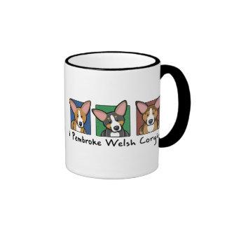 Colorful Cartoon Pembroke Welsh Corgis Ringer Coffee Mug