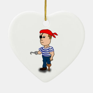 Colorful Cartoon Pirate Sailor Ceramic Ornament