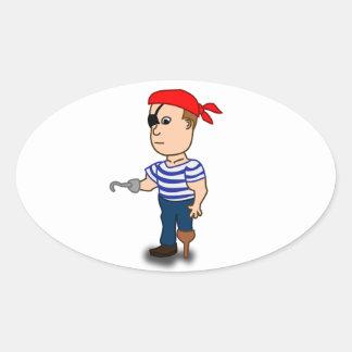 Colorful Cartoon Pirate Sailor Oval Sticker