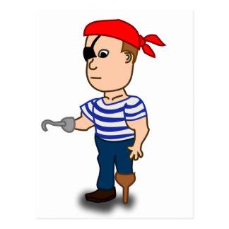 Colorful Cartoon Pirate Sailor Postcard