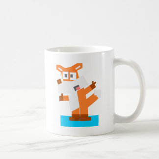 Colorful Cartoon Red Fox Made from Squares Mugs