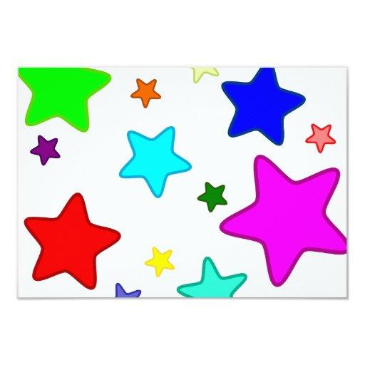 Colorful Cartoon Stars 3.5x5 Paper Invitation Card