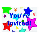 Colorful Cartoon Stars & Text 3.5x5 Paper Invitation Card
