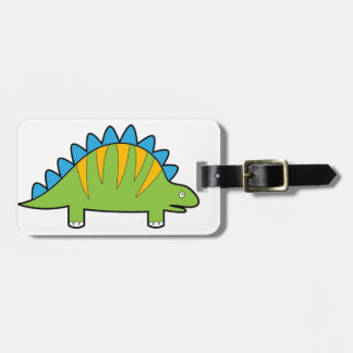 Colorful cartoon stegosaurus dino luggage tag