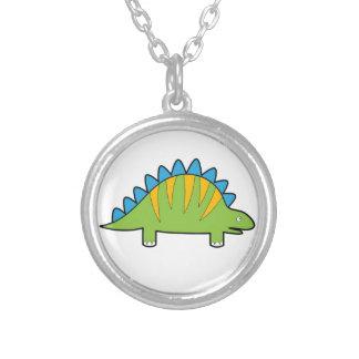 Colorful cartoon stegosaurus dino silver plated necklace