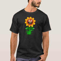Colorful Cartoon Sunflower with Happy Smiling Face T-Shirt