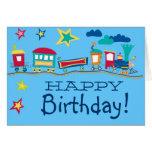Colorful cartoon train happy birthday card