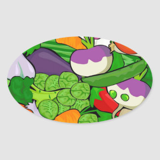 Colorful Cartoon Vegetables Oval Sticker