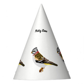 Colorful cartoon yellow and brown sparrow party hat
