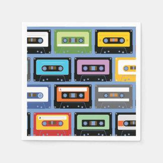 Colorful Cassette Tape Pattern Standard Cocktail Napkin