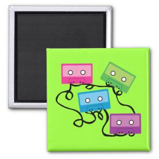 Colorful Cassette Tapes 2 Inch Square Magnet