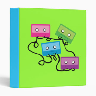 Colorful Cassette Tapes 3 Ring Binder