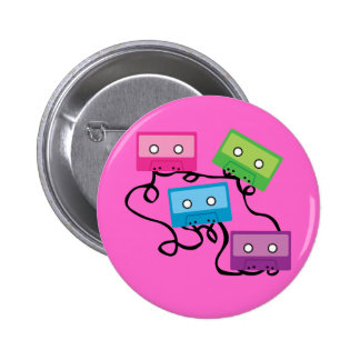 Colorful Cassette Tapes Button