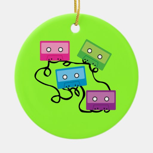 Colorful Cassette Tapes Double-Sided Ceramic Round Christmas Ornament