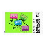 Colorful Cassette Tapes Postage Stamps