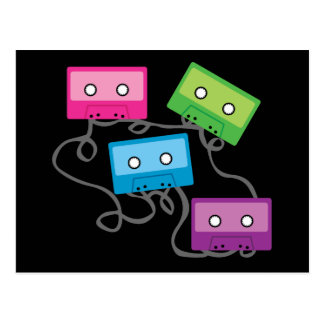Colorful Cassette Tapes Postcard