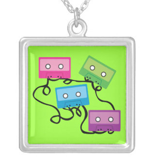 Colorful Cassette Tapes Silver Plated Necklace