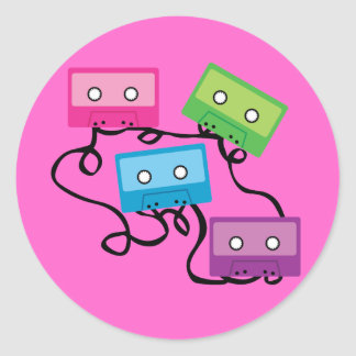 Colorful Cassette Tapes Round Stickers