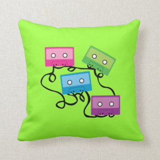 Colorful Cassette Tapes Throw Pillow