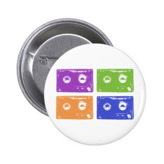 Colorful cassettes! pinback button