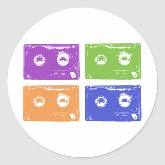 Colorful cassettes! classic round sticker