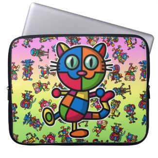 colorful cat2 laptop computer sleeve