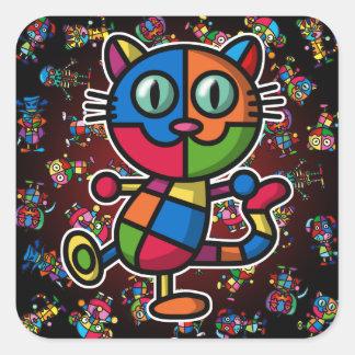 colorful cat2 square sticker