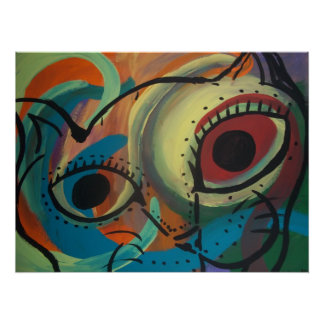 Colorful Cat Abstract Print