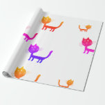 Colorful Cat Art Drawings Wrapping Paper