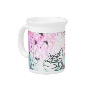 Colorful Cat Beverage Pitcher