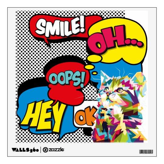 Colorful Cat Comic Hope Iconic Pop Art Wall Decal | Zazzle.com